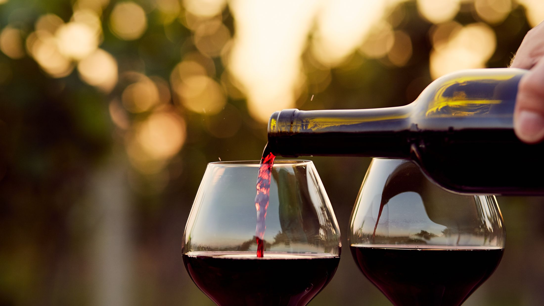 Pouring red wine into glasses in the vineyard, toned; Shutterstock ID 314750660; PO: Project Italy - Facilities images; Job: Project Italy - Facilities images; Client: H&J/Citalia