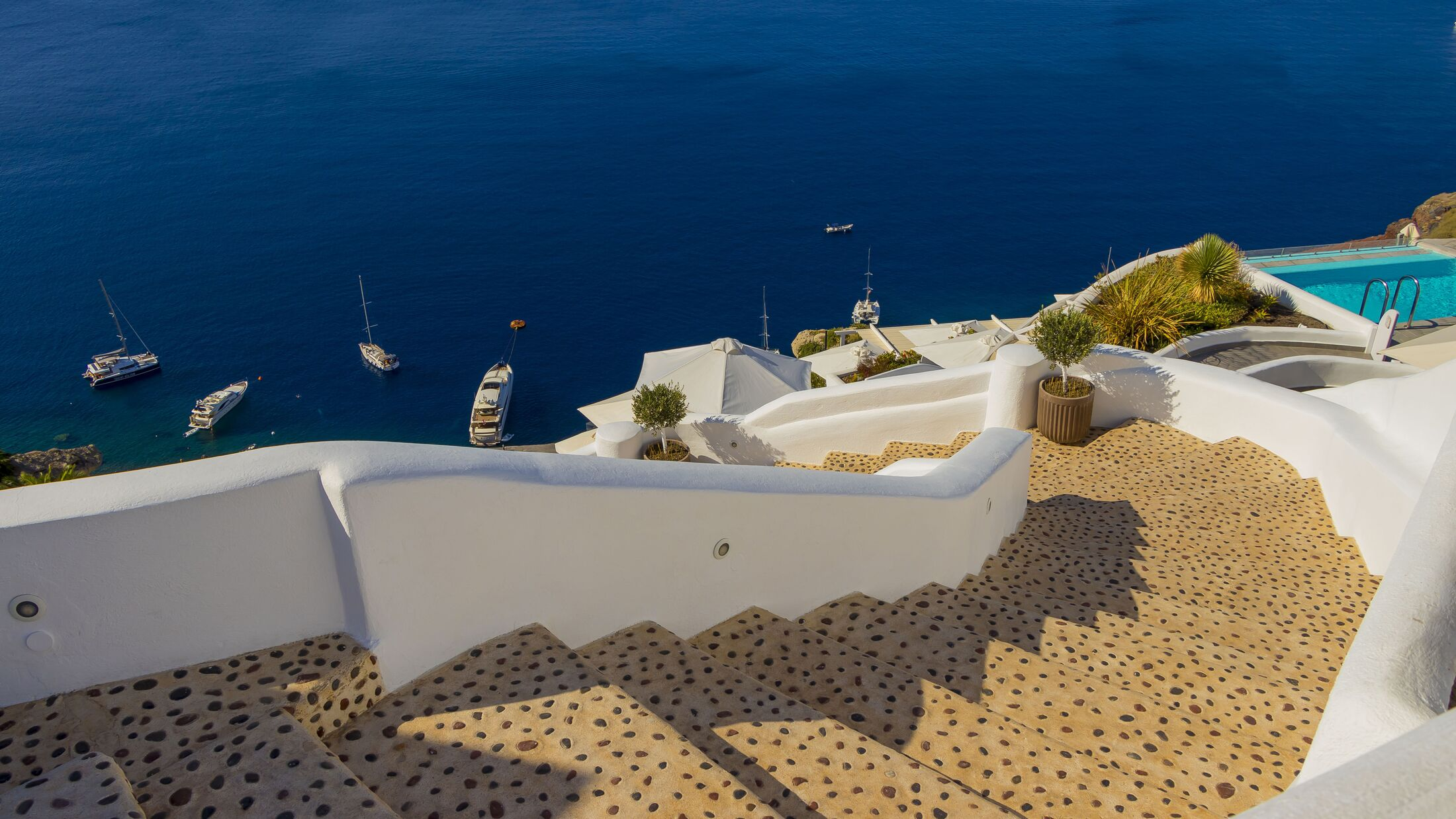 Santorini Sea View from a hillside stairway